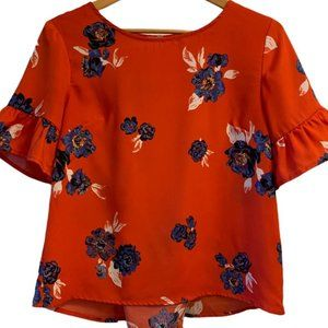 MAURICES Red Floral Corset Back Top Size Small